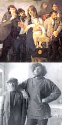 Section of Robert Lenkiewicz's painting, The Group at Eton Studio Avenue, and (below) the artist with his friend Diogenes, who lived in a barrel