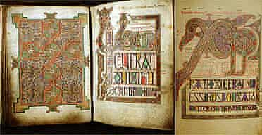 Three pages from the Lindisfarne Gospels