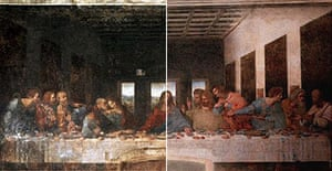 Leonardo's Last Supper, before (left) and after (right) restoration in 1999