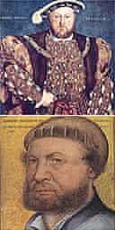 Portrait of Henry VIII (top) by Holbein (self-portrait, bottom)