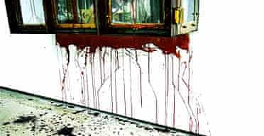 detail from Blood by Damien Hirst, Sept 03