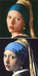 Scarlett Johansson and the girl with a pearl earring in Vermeer's painting