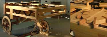 A working model of a clockwork car designed by Leonardo da Vinci