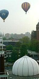 Hot air balloons broadcast sleep music over central Birmingham