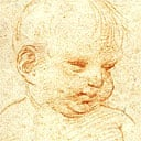 Red chalk drawing of a child, attributed to Raphael