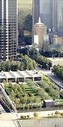 Aerial  view of Renzo Piano's Nasher Sculpture Centre, Dallas