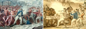Details from John Webber and John Clevely's versions of the death of Captain Cook