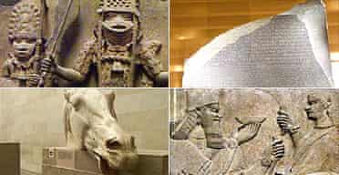 British Museum treasures: one of the Benin bronzes, the Rosetta Stone, Assyrian palace reliefs and the Parthenon Marbles
