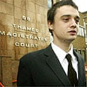 Pete Doherty outside Thames Magistrates Court