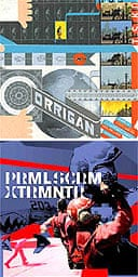 Cover of Chris Ware's graphic novel, Jimmy Corrigan: The Smartest Kid in the World and Julian House's cover for Primal Scream's Xtrmntr