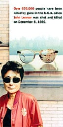2000 picture of Yoko Ono with a gun control poster on the 20th anniversary of John Lennon's death