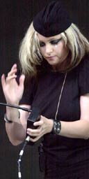 Alison Goldfrapp playing the theremin