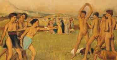 Degas' dreamworld ... detail from Young Spartans Exercising. Copyright: National Gallery