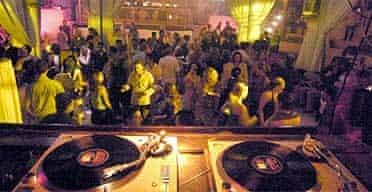 Nightclubbers dancing