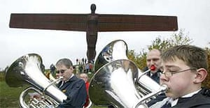 Brass band celebrates 10th anniversary of the Angel of the North