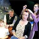 Rory Jennings, Edward Peel, Anita Carey and Andrea Lowe in Gong Donkeys, Bush Theatre, London