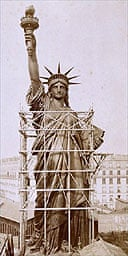 Photo from an exhibition about the construction of the Statue of Liberty