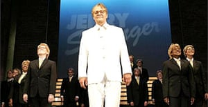 The cast of Jerry Springer - The Opera take their bows at the Cambridge Theatre