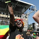 Fans celebrate at a concert in Addis Ababa to celebrate the 60th anniversary of the birth of Bob Marley. Photo: AP
