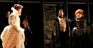 Anne Mason as Mary and Jennifer Rhys-Davies as Elizabeth in English Touring Opera's Mary, Queen of Scots