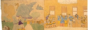 Henry Darger's At Cedemine. Jennie is bruttally treated. No 1 At Cairns Fair They return to the tavern surprise the same foe generals. Taking them prisoners, but - [sic]