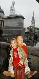 Alison Lapper with son in front of Marc Quinn's Trafalgar Sqare statue