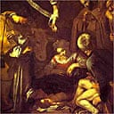Detail from Caravaggio's Nativity with Saints Francis and Lawrence