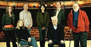 Seven theatre directors (l-r): Fiona Clift; Thea Sharrock; John Tiffany; Roxanna Silbert; Peter Gill; David Lan; William Gaskill