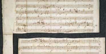 A Mozart manuscript, torn up by the composer's widow