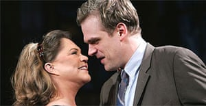 Kathleen Turner and David Harbour in Who's Afraid of Virginia Woolf? at the Apollo, London