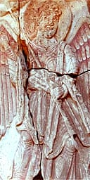 The carving of the archangel Gabriel Angel recently discovered under the nave of Lichfield Cathedral.  February 2006