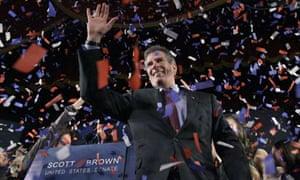 Scott Brown celebrates his Senate seat victory in Massachusetts