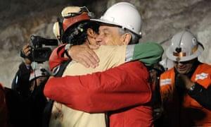Chilean miner Florencio Avalos reaches the surface