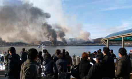 Huge plumes of smoke rising from Yeonpyeong island