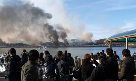 Huge plumes of smoke rising from Yeonpyeong island