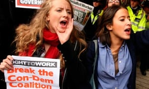 Demonstrators from UK Uncut outside Topshop, on Oxford Street, London