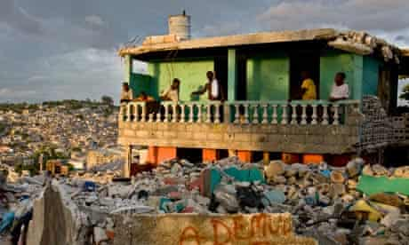 A view over Port-au-Prince showing damage caused by the Haitian earthquake.