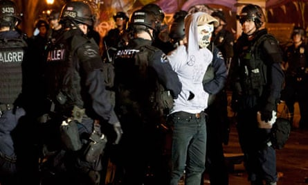 LA Police deployed against protesters from the Occupy LA encampment outside City Hall in Los Angeles