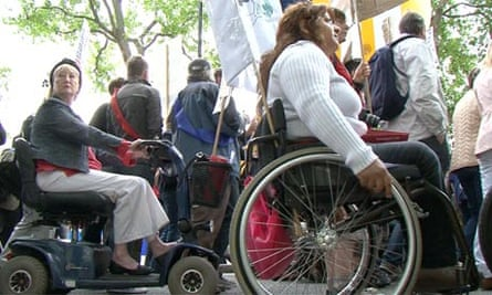 Disabled protesters march through Westminster