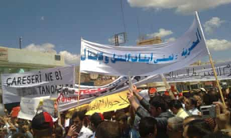 Anti-government protesters in Qamishli, Syria