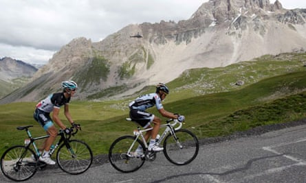 Andy Schleck and Alberto Contador on the 19th stage of the Tour de France 2011