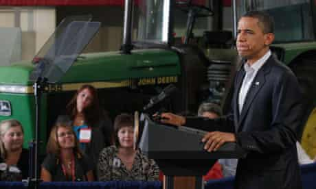President Barack Obama pauses as he speaks during a Rural Economic Forum