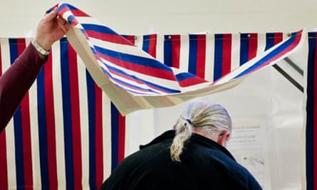 Polling booth in Goffstown, New Hampshire