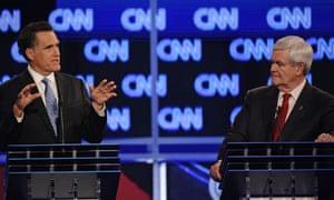Mitt Romney and Newt Gingrich in the CNN debate
