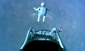 Austrian daredevil Felix Baumgartner skydives from more than 24 miles above Earth