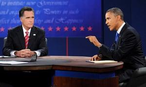 Mitt Romney and Barack Obama during third debate