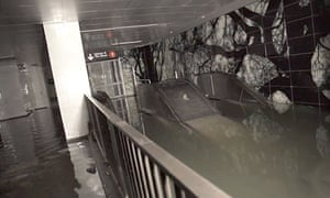 Flooding at the South Ferry and Whitehall subway station in New York caused by superstorm Sandy