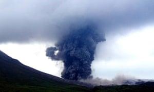 Volcanic ash spews from Mount Lokon