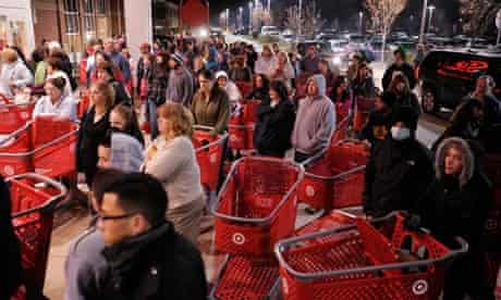 Black Friday shoppers wait outside Target in Lison, Connecticut