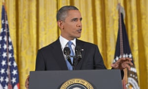 President Barack Obama at a White House news conference